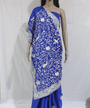 royal blue gara saree