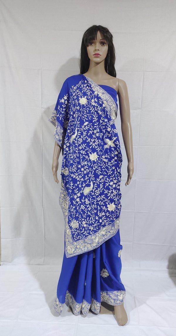 royal blue gara saree