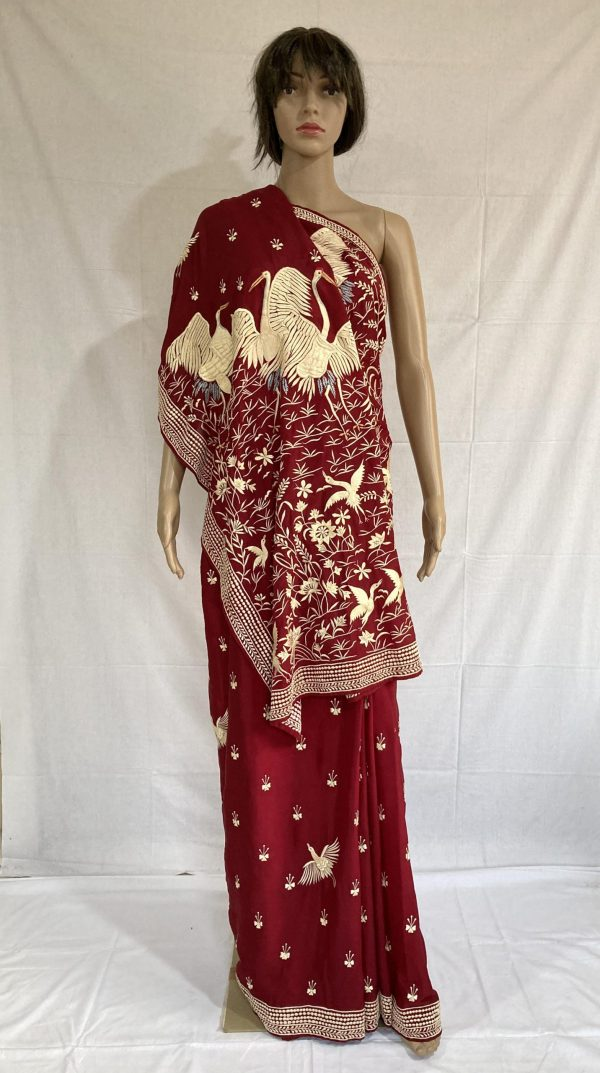 Deep wine Red colour with Flamingo and Floral Design