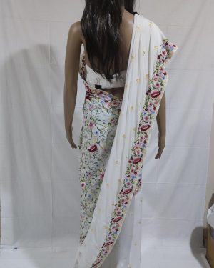 White Gara saree with Colourful Flower design