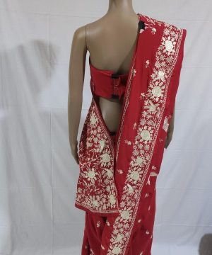 Red gara with beautiful Flamingoes and flower design