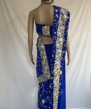 Blue gara with beautiful flower design