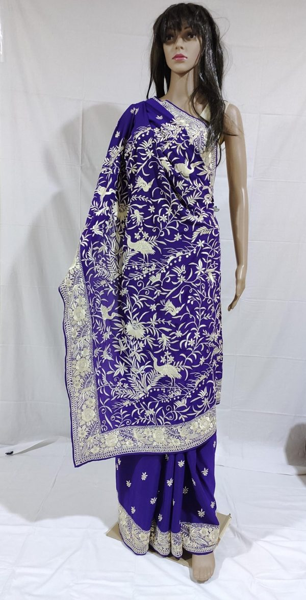 Violet colour Gara Saree