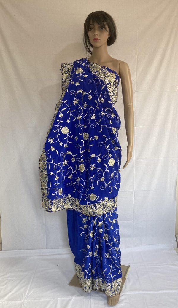 Blue gara with beautiful flower design
