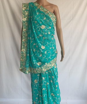 Teal Blue gara saree