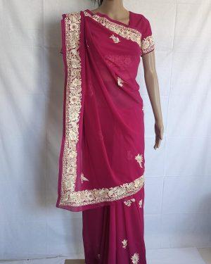 pink gara saree