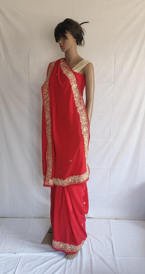 Red colour gara Saree